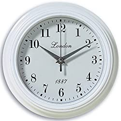 The White LONDON 1887 English Wall Clock, Glass, Quartz Movement, 9 Inches Diameter, Analog Timepiece, Battery Powered, 1 AA, By Whole House Worlds