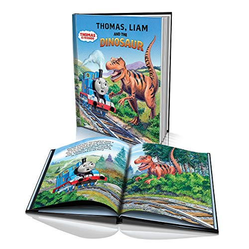 Personalized Story Book -Thomas and The Dinosaur - Childrens Book for Kids Aged 2 to 8 Years Old - A Story About Thomas and Your Child Conquering Their Fears - 10x 8 Soft Cover Book