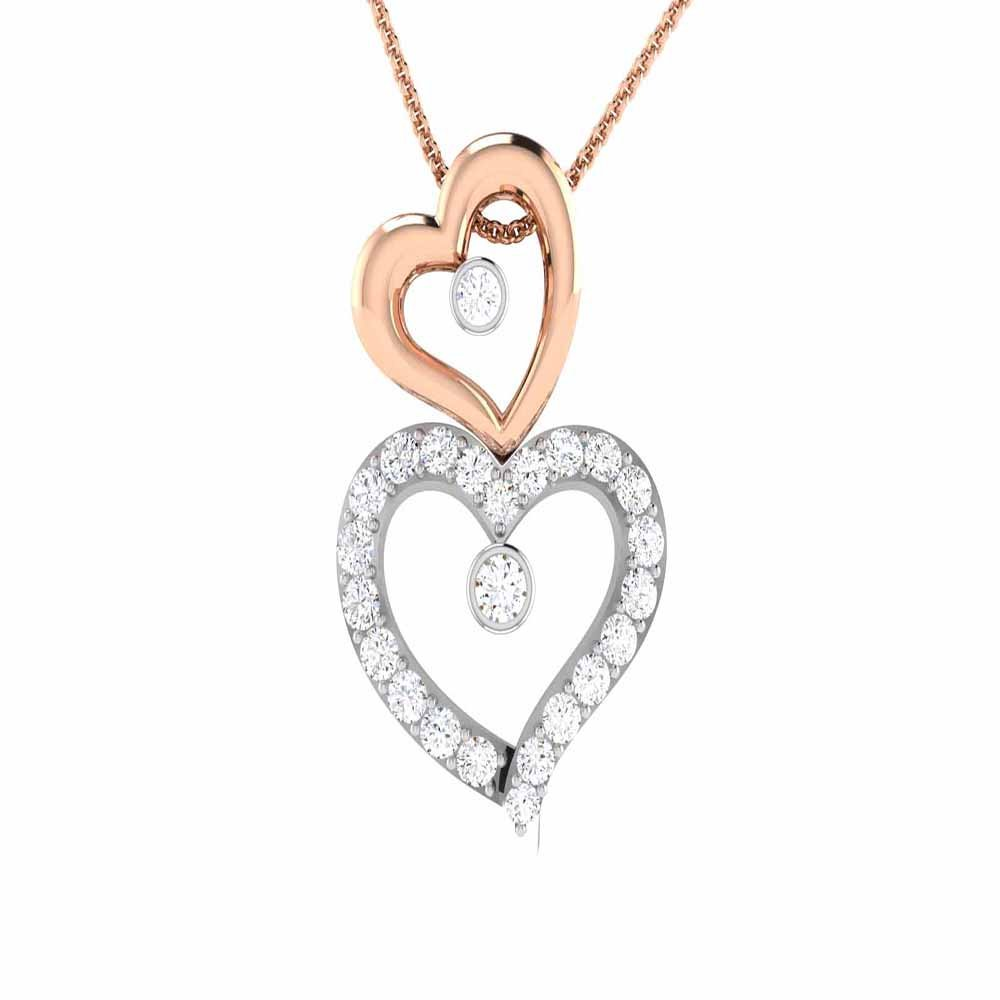 Rose Gold Plated 14K Alloy Simulated White Diamond Valentine Special Double Heart Pendant With Box Chain 18 Silverraj Jewels Heart Pendant Collection