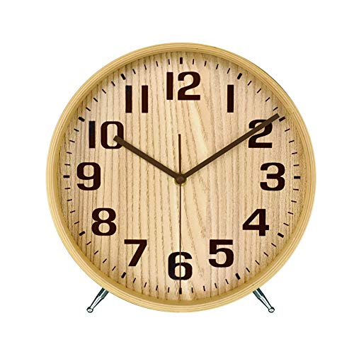 KAMEISHI 8 Inch Wood Desk Clocks Battery Operated For Living room Bedroom Bedside Kitchen Round Decor Table Clock Silent Non Ticking Quiet Sweep Second Hand Quartz Large Numerals KSZ823 Natural