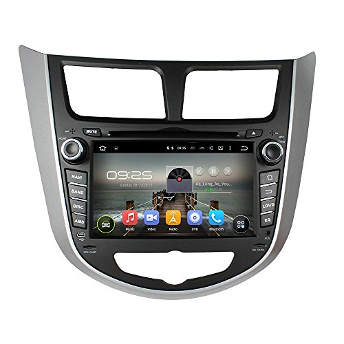 XTTEK 7 inch HD 1024x600 Multi-touch Screen in dash GPS Navigation System for Hyundai Accent 2012 2013 2014 2015 2016 Quad Core Android DVD Player+Bluetooth+WIFI+SWC+Backup Camera+North America Map ()