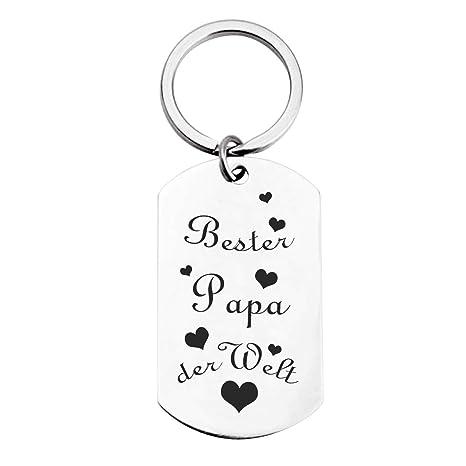 Schlüsselanhänger Mit Gravur Geschenk Für Männer Bester Papa Der Welt Anhänger Für Vater Vatertag Geburtstag Geschenk Silber Schlüsselanhänger Als