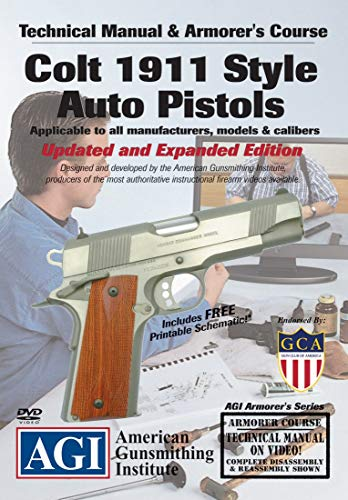 American Gunsmithing Institute Armorer's Course Video on DVD for Colt 1911 .45 Auto Pistol - Technical Instructions for Disassembly, Cleaning, Reassembly and More from American Gunsmithing Institute