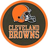 """Licensed MLB Cleveland Browns Party Round Luncheon Plates Tableware, Paper, 9"""", Pack of 8"""