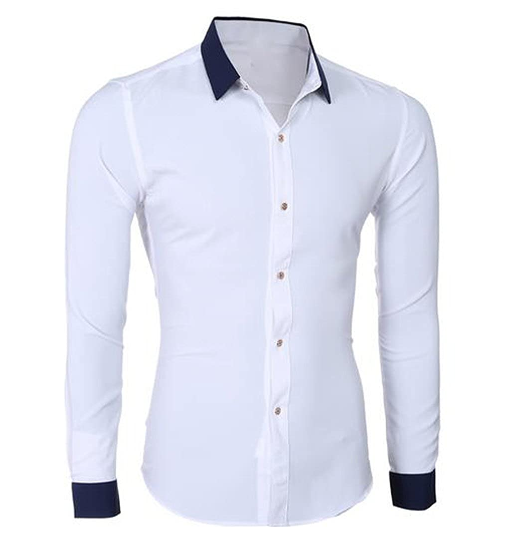 Amazon Mlg Mens Casual Slim Fit Chic Shirt Contrast Color Dress