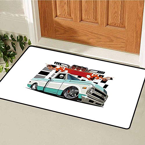 (GloriaJohnson Truck Commercial Grade Entrance mat Lowrider Pickup with Racing Flag Pattern Background Speeding on The Streets Modified for entrances garages patios W15.7 x L23.6 Inch Multicolor)