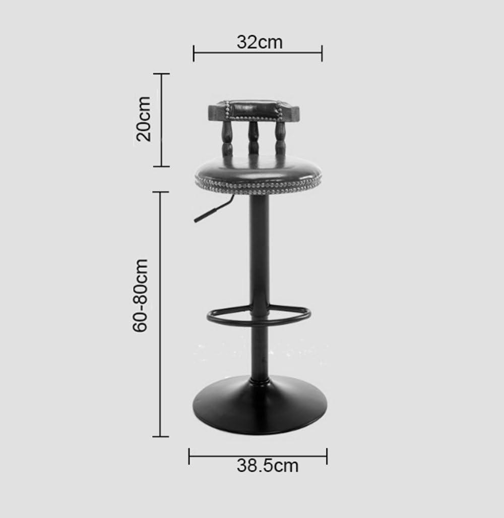 Bar chaise Européenne rétro bois peut soulever haut tabouret de bar Américain fer repose-pieds tabouret Dossier Cafe Tabouret Cinq couleurs (42 * 38.5 * 80) cm (Couleur : C) C