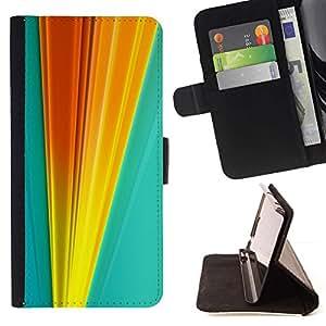 For Sony Xperia Z5 (5.2 Inch) / Xperia Z5 Dual (Not for Z5 Premium 5.5 Inch) Case , Naranja Líneas Blue Gold Vertical- la tarjeta de Crédito Slots PU Funda de cuero Monedero caso cubierta de piel