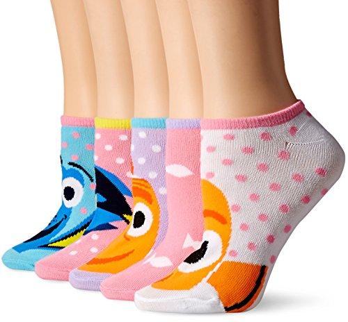 Disney Women's Finding Dory 5-Pack No Show Socks, ASST, 9-11 -