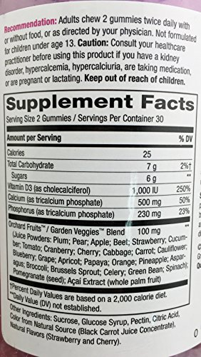 2-Pack Natures Way Alive! Calcium Gummies Plus Vitamin D3 - 60 Gummies Gluten Free and Vegetarian Friendly, 120 Calcium Gummies by Nature's Way (Image #2)