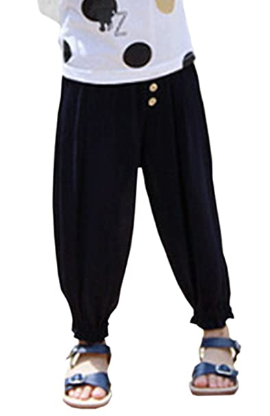 bd43c5f5f Amazon.com: BaiX Girls' Loose Summer Cropped Pants Summer Sun Protective  Bloomers: Clothing