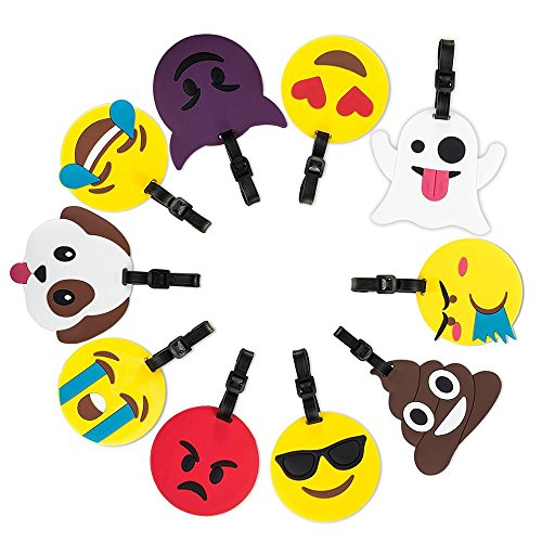 10 pack Soft PVC Emoji Suitcase Travel ID Label Luggage Tags ,...
