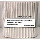 200 Canudo De Papel Biodegradável Vitamina Milk Shake 8mm