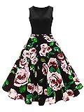 Lealac 1950s Vintage Retro Floral Printed Hepburn Dress Sleeveless Cocktail Prom Dresses for Women L89-Dress Rose L