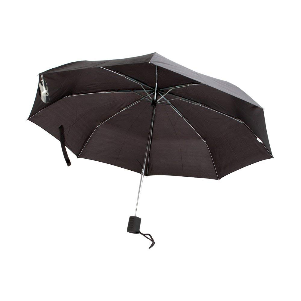 The Weather Station Large 42-Inch Manual Open Compact Folding Umbrella, Black - Pack of 24
