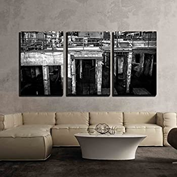 Wall26   3 Piece Canvas Wall Art   Abandoned Industrial Interior With  Bright Light   Modern