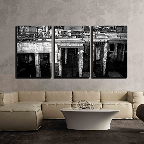 wall26 - 3 Piece Canvas Wall Art - Abandoned Industrial Interior with Bright Light - Modern Home Decor Stretched and Framed Ready to Hang - 24