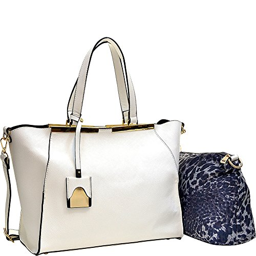 Dasein Crosshatch Winged Gold-Tone Colorblock Satchel (White)