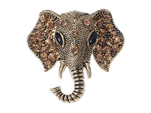 (Alilang Antique Bronze Tone Lucky African Elephant Head Brooch Pin with Dark Topaz Stones)