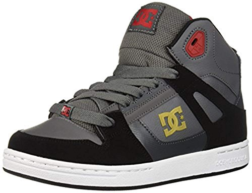 DC Shoes Kid's Pure High Top Shoes Grey/Black/Red 3 & Cooling Towel Bundle
