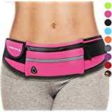 Waist Packs : Best Comfortable Running Belts That Fit ALL Phone Models and Fit ALL Waist Sizes. For Running, Workouts, Cycling, Travelling Money Belt & More. Comes in 9 Stylish COLORS (Pink)