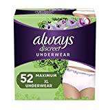 Always Discreet Incontinence & Postpartum Underwear for Women, Disposable, Maximum Protection, X-Large, 26 Count - Pack of 2 (52 Count Total)