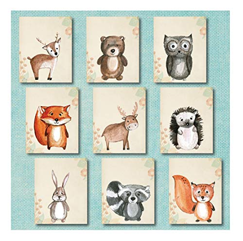 Woodland Nursery Decor 9 Wall Art Prints UNFRAMED  Forest Woodlands Animal Prints Help even Nursery bedding Plush Animals Adventure Critters Creatures help Woodland Nursery Decorations Sets 8x10