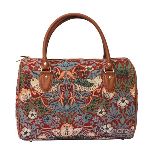 Signare Womens Fashion Canvas Tapestry Travel Weekend Overnight Bag in William Morris Strawberry Thief Red Design