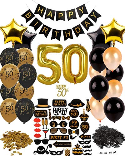 Dharma Creations 50th BIRTHDAY DECORATIONS GOLD BLACK COMPLETE PACKAGE PARTY SUPPLIES FOR MEN WOMEN INCLUDES //CAKE TOPPER//CONFETTI//32 LATEX BALLOONS// 26 PHOTO BOOTH PROPS// & MORE!