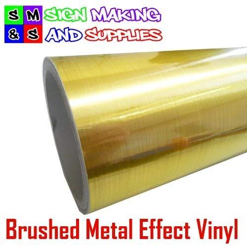 Brushed Metal Effect Vinyl Gold/Brass Roll of 1mtr x 305mm Sticky Back Plasti...