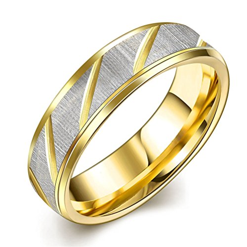 IVYRISE Stainless Steel Couple Rings Two Tone Diagonal Striped Gold IP Wedding Engagement Ring Band Bridal Sets