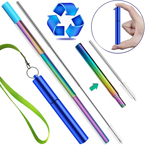 Beverage Keychain - Reusable Straws with Case, Jeminar Portable Metal Straws for Drinks with Case, Keychain Cleaning Brush Silicone tip and Lanyard, Stainless Steel Telescopic Straws Drinking Reusable Travel Straw Kids