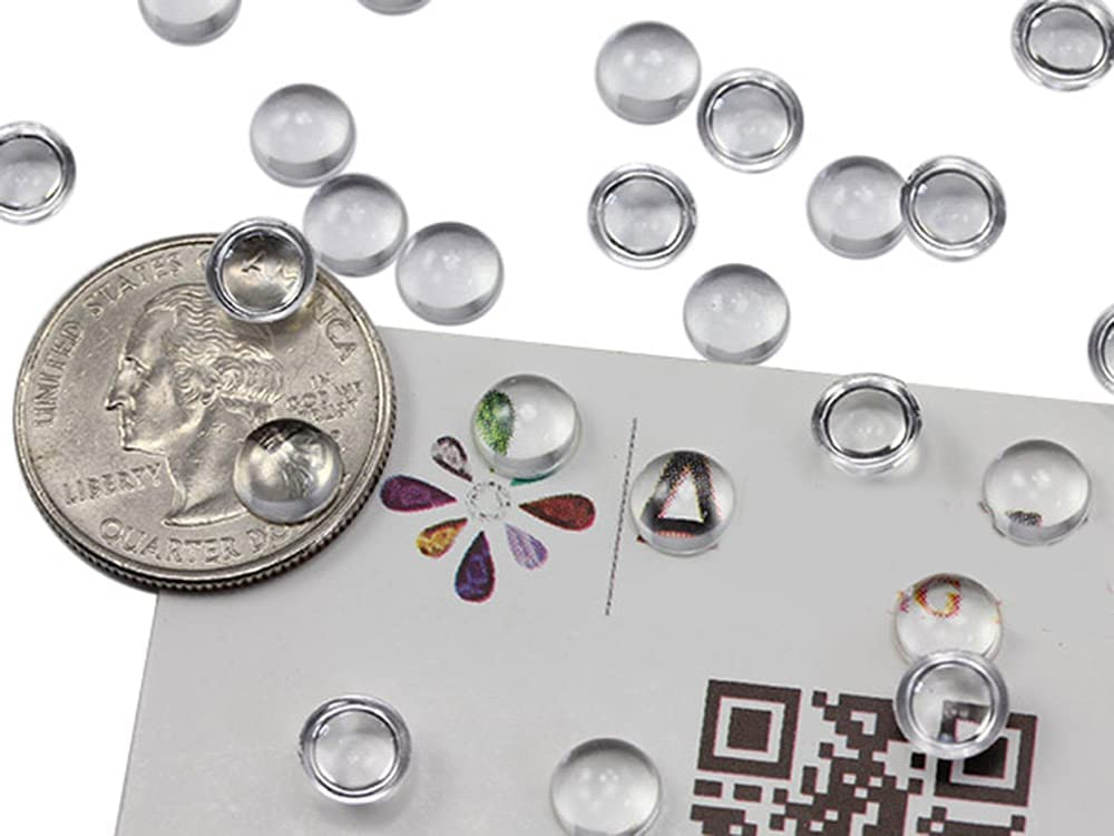 11mm 6mm height lucite plastic with glitters unique color 10 Vintage cabochon