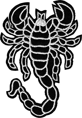 Iron Stinger (Black & White Scorpion Iron Sew On Patch / Applique)
