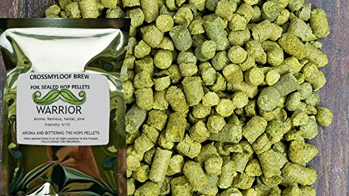 100g of Warrior Hop Pellets. 13-15% AA - 2017. Cold Stored CO2 Flushed for Freshness The Crossmyloof Brewery