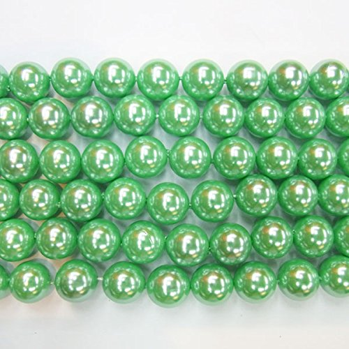 Round South Sea Pearl Green (TheTasteJewelry 6mm Round Green South Sea Type A Grade Shell Beads 15 inches 38cm Jewelry Making Necklace Healing)