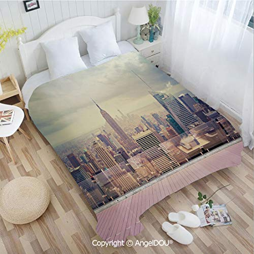 AngelDOU Warm air Conditioner Flannel Blanket W72 xL86 New York City USA Landscape from Roof Apartment Balcony Photo Image for Bed Cover Sofa car use.