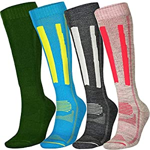 Alpine Thermal Performance Socks Merino Wool for Winter Hiking Skiing Snowboarding, Knee-High, Multi, Men's, Women's, Kids