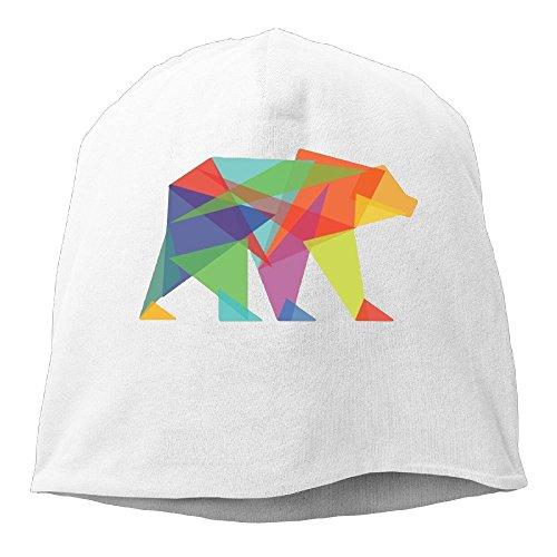 XiaoTing Men Geometric Bear Warm Street Dance White Beanies Skull (Panthers Jersey Scarf)
