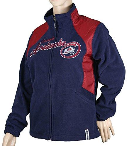Colorado Avalanche NHL Womens RHYTHM Micro Fleece Jacket, Navy (X-Large)