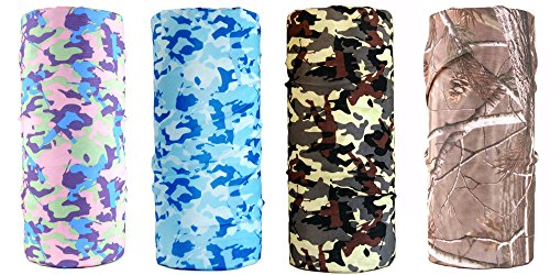 O&W[Camo] Unisex Polyester UV Seamless Lightweight Casual Headbands Bandanna Headwear Scarf Wrap Cool Neck Gaiters for Sports Outdoor Pack of 1