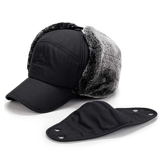 c5f61912117 Fur Earflap Adjustable Winter Aviator Hats Men Women Faux Fur Hunting Russian  Cap with Mask Black