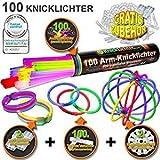 """100 Lightstick 7 colori Punteggio del test 1,4 """"MOLTO BUONO"""", Set completo include 100x connettori TopFlex 2x connettori tripli e 2 connettori a sfera"""