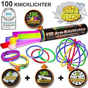 """100 bracelets lumineux fluo 7-COULEURS, note du testeur : 1,4 """"TRÈS BIEN"""", kit complet incluant connecteurs TopFlex x 100, connecteurs triples x 2 et connecteurs circulaires x 2"""