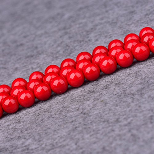 4mm Dyed Red Coral Beads Round Gemstone Loose Beads for Jewelry Making (95-100pcs/strand)