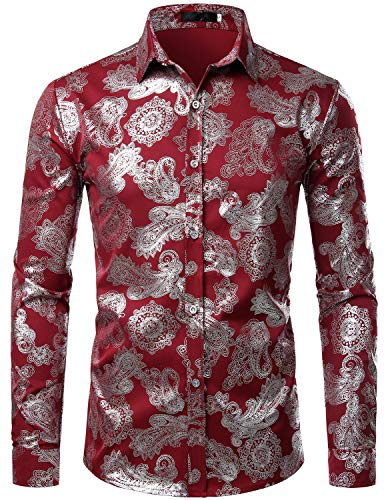 ZEROYAA Mens Paisley Shirts Metallic Printed Slim Fit Long Sleeve Button Down Party Shirts ZZCL26 Burgundy Large