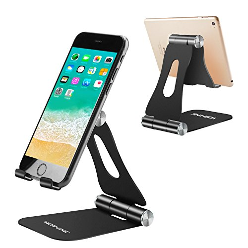 Adjustable Tablet Stand Holders, YOSHINE Cell Phone Stands, Phone Desk Holder, iPhone Stand, iPad Stand, Aluminum Stands Cradle Dock for Switch, Fit All Smartphones and Tablets - Black