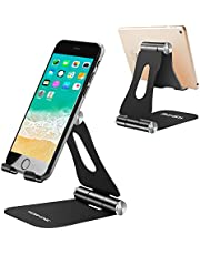 Cell Phone Stand, Yoshine iPhone Stand Adjustable Mobile Phone Stand Tablet Stand Portable Foldable Cell Phone Holder for Desk Tablet Mount Universal Aluminum Stand Holder for Switch Kindle Smartphones and Tablets