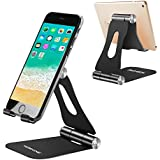 [New Foldable Version] Cell Phone Stands,Yoshine Adjustable Cell Phone Holder Phone Desk Stand Tablet Stand Universal Aluminum Stand Mount Cradle for Switch Kindle All Smartphones and Tablets - Black
