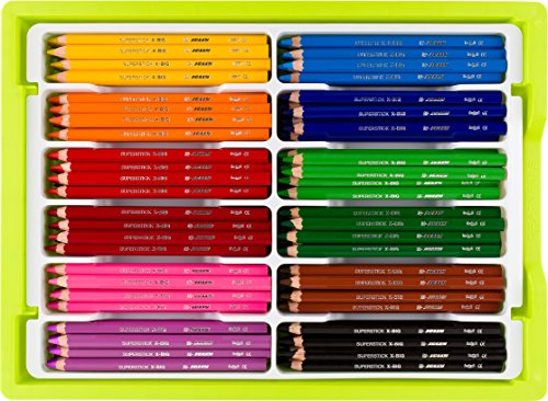 Jolly X-Big Premium Jumbo Colored Pencils with Stackable Storage Box; 180 Pcs (15 each of 12 primary colors), Perfect for Group Projects, Classrooms, Special Needs, Art Therapy, Pre-School by Jolly